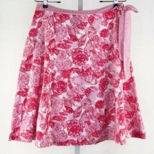Elevenses Pink And White Floral Skirt with Bow
